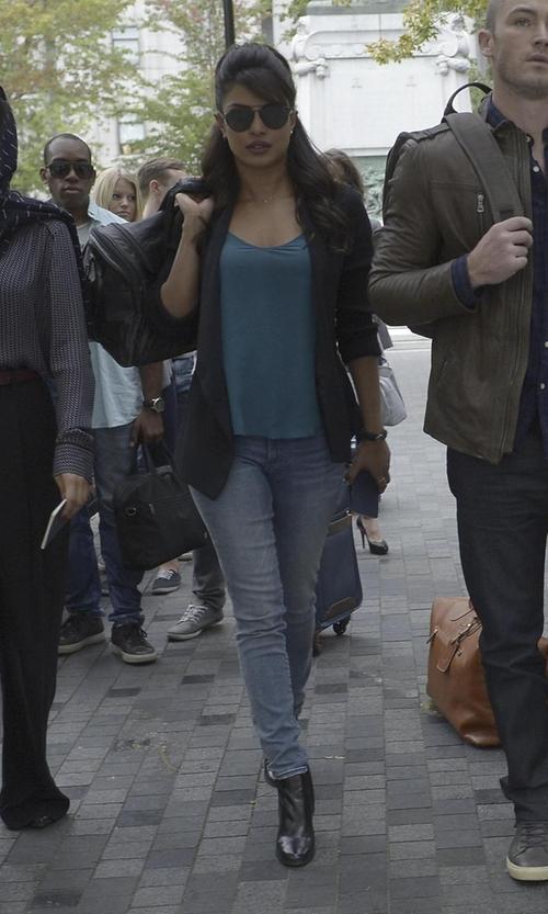 Priyanka Chopra with Topshop Ponte Boyfriend Blazer in Quantico
