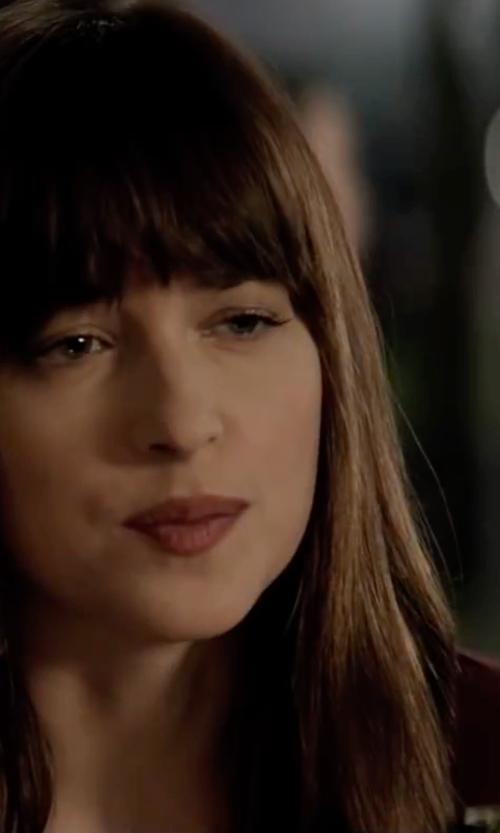 Dakota Johnson with Frame Denim Boxy Short-Sleeve Tee in Fifty Shades Darker