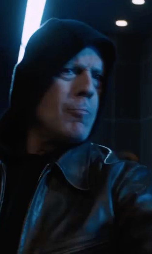 Bruce Willis with Andrew Marc Macdougal Leather Jacket in Death Wish