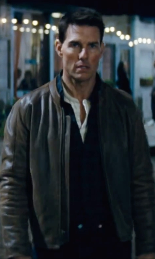 Tom Cruise with Marc New York Moto-Style Faux-Leather Jacket in Jack Reacher