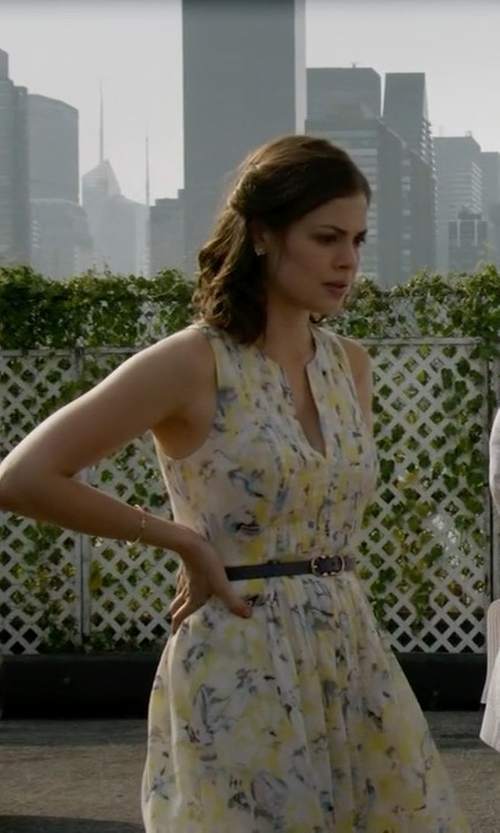 Conor Leslie with Carmen Marc Valvo Floral-Print Sleeveless Party Dress in The Blacklist