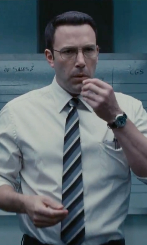 Ben Affleck with Bugatchi Stripe Silk Tie in The Accountant