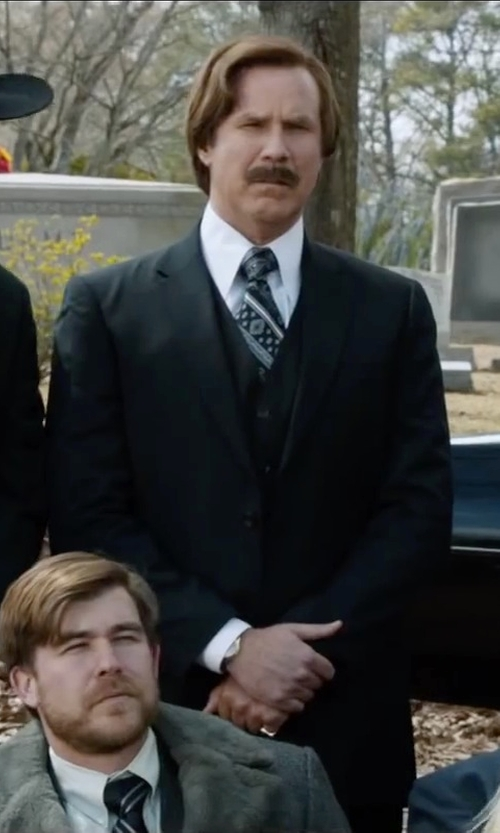 Will Ferrell with Wilke Rodriguez Navy Modern Fit Vested Suit in Anchorman 2: The Legend Continues