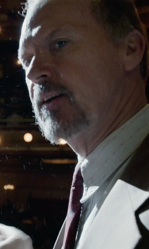 Michael Keaton with Calvin Klein Sharskin Vested Slim-Fit Suit in Birdman