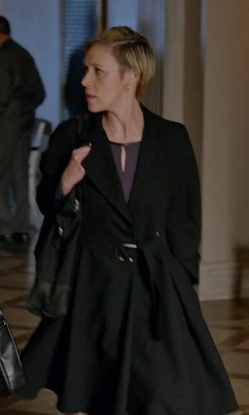 Liza Weil with Trina Turk Asymmetrical Pleated Peacoat in How To Get Away With Murder