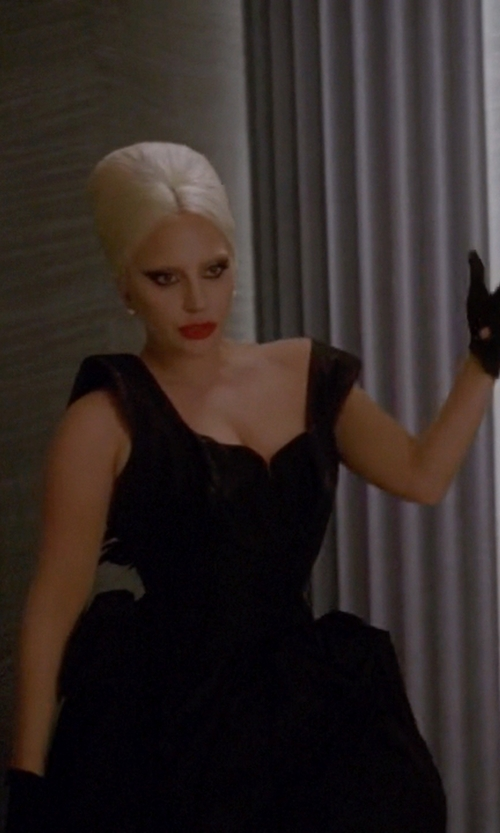 Lady Gaga with Herve Leger Cap-Sleeve Sweetheart Bandage Gown in American Horror Story