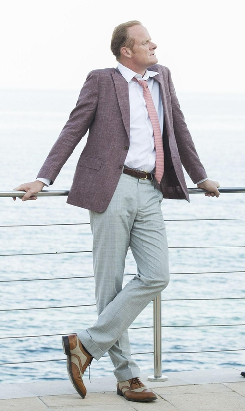Alistair Petrie with River Island Slim Suit Pants in The Night Manager