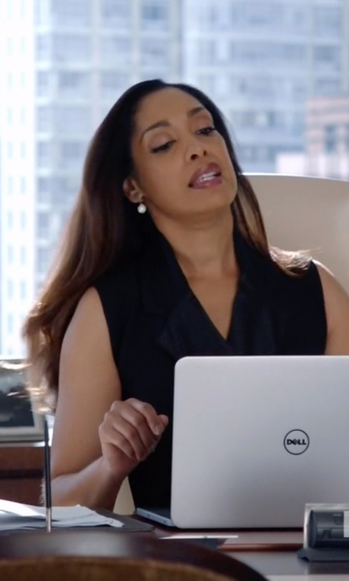 Gina Torres with Mikimoto Cultured Akoya Pearl, Diamond & Drop Earrings in Suits