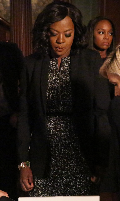 Viola Davis with Michael Kors Sleeveless Tweed Sheath Dress in How To Get Away With Murder