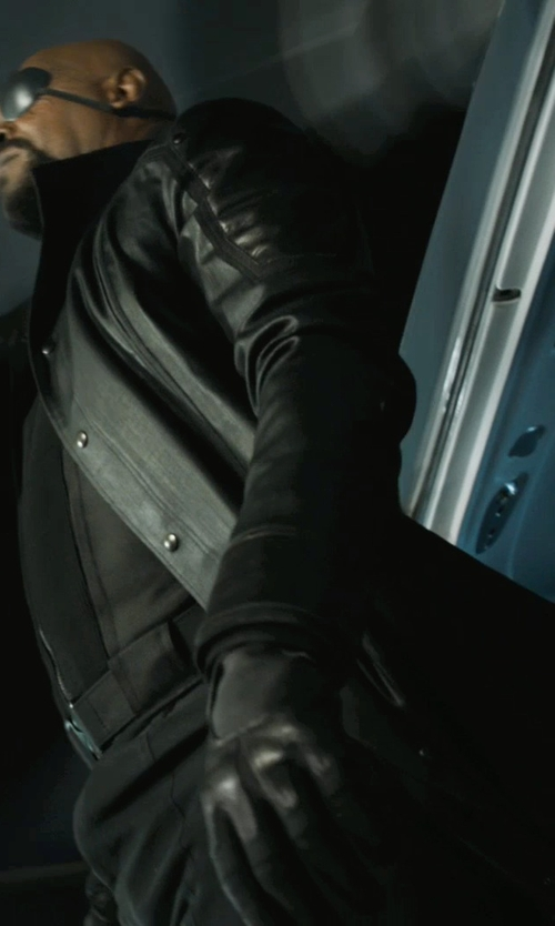 Samuel L. Jackson with Alexandra Byrne (Costume Designer) Custom Made 'Nick Fury' Leather Coat in Marvel's The Avengers