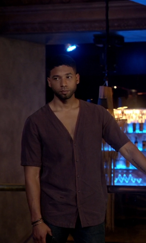 Jussie Smollett with Daniele Alessandrini V-Neck Cardigan in Empire