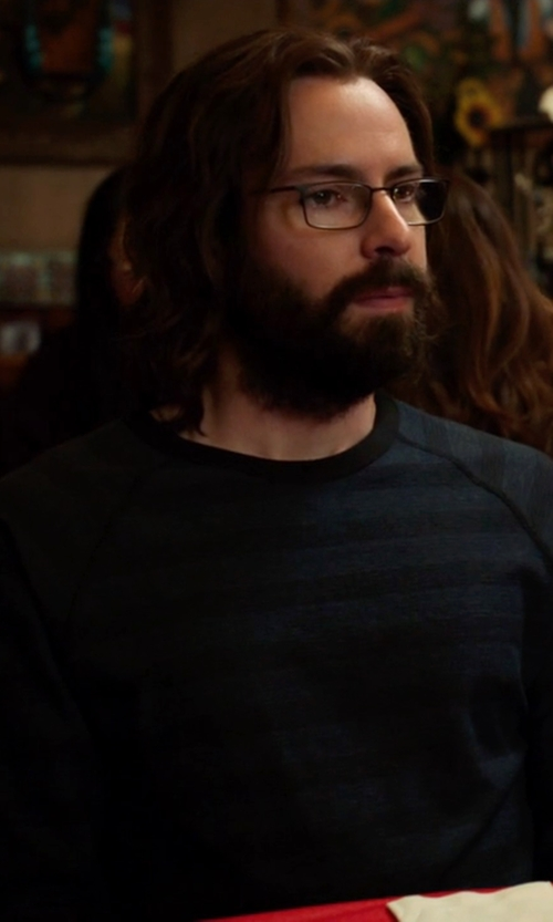 Martin Starr with Billy Reid Regular Fit Stripe Crewneck Sweater in Silicon Valley