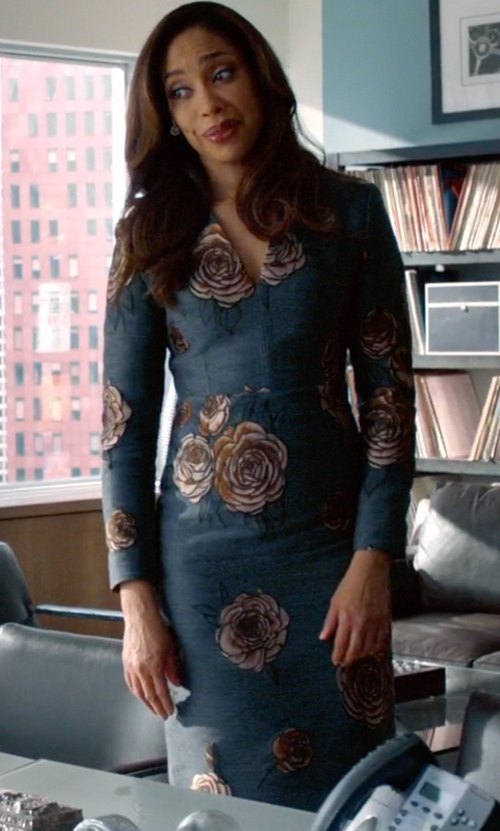 Gina Torres with Aquilano Rimondi Milano Floral-Embroidered V-Neck Dress in Suits