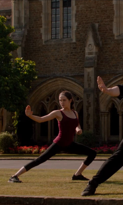 Zoey Deutch with Augusta Sportswear Augusta Ladies Maroon Racerback Tank Top in Vampire Academy