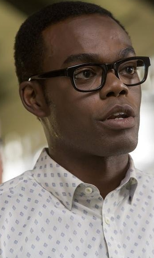 William Jackson Harper with Sand Printed Cotton Dress Shirt in The Good Place