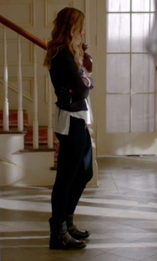 Elizabeth Blackmore with River Island Leather Chain Embellished Biker Boots in The Vampire Diaries