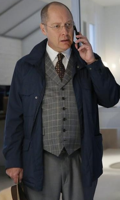 James Spader with Z Zegna Microtene Padded Long Sleeve Raincoat in The Blacklist