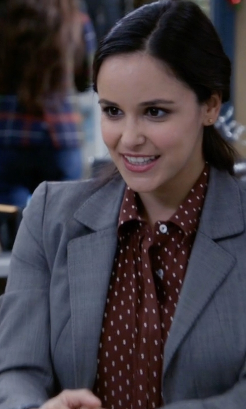 Melissa Fumero with Frame Le Classic Dot-Print Silk Shirt in Brooklyn Nine-Nine