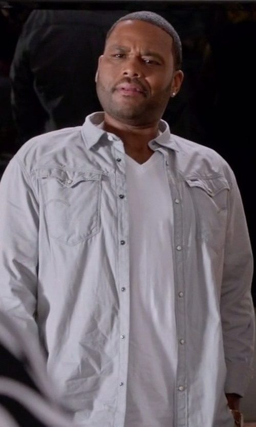 Anthony Anderson with Earnest Sewn Denim Irving Shirt in Black-ish