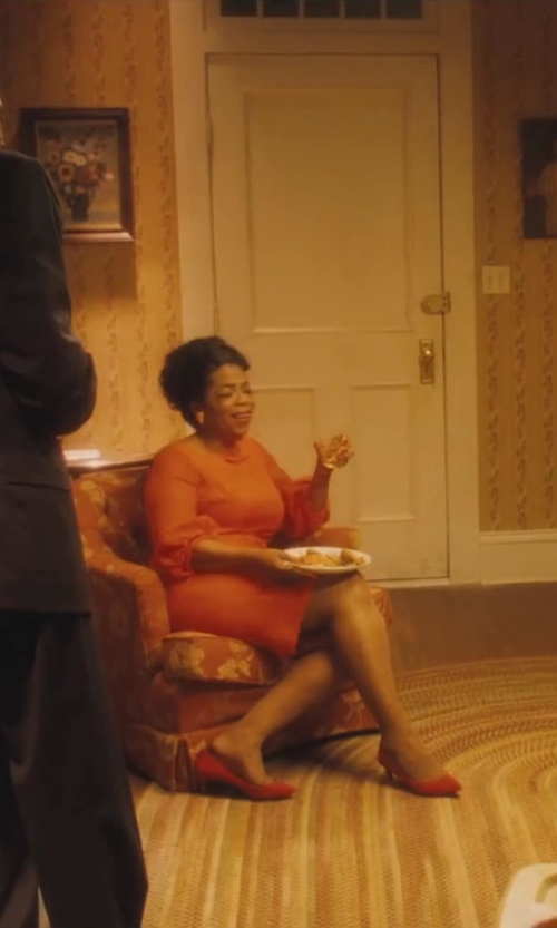 Oprah Winfrey with Ruth E. Carter (Costume Designer) Custom Made Courrèges Orange Lace Dress (Gloria Gaines) in Lee Daniels' The Butler