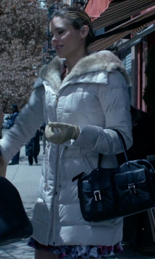 Susie Abromeit with Calvin Klein Faux Fur-Trimmed Puffer Coat in Jessica Jones