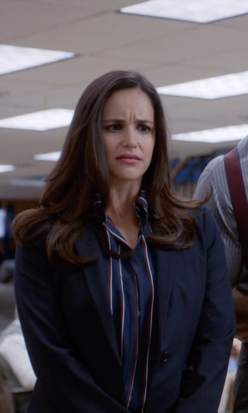 Melissa Fumero with Frame Denim Le Classic Striped Washed Silk-Charmeuse Shirt in Brooklyn Nine-Nine