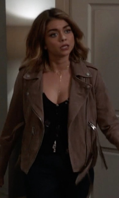 Sarah Hyland with AllSaints Plait Balfern Leather Biker Jacket in Modern Family