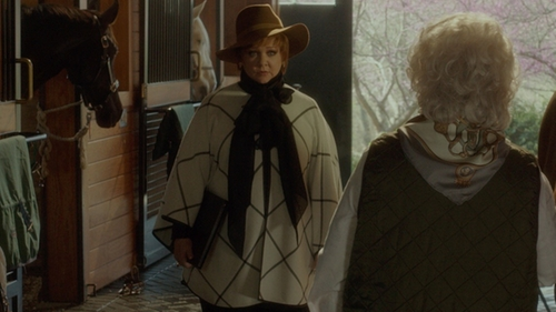 Melissa McCarthy with St. John Milano Plaid Knit Cape in The Boss