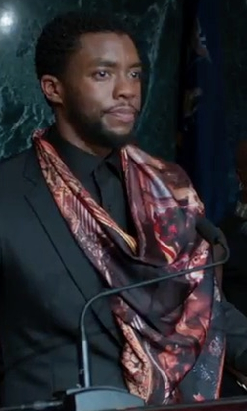 Chadwick Boseman with Paul Smith Monkey Print Wool And Cashmere Blend Scarf in Black Panther