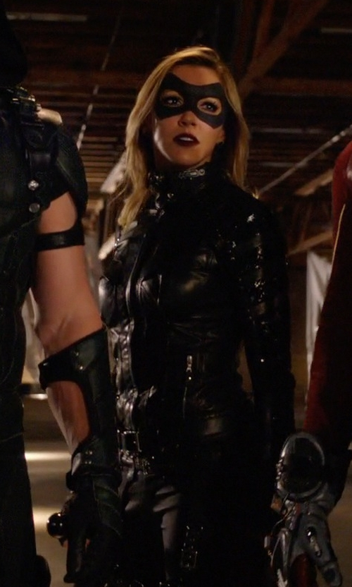 Katie Cassidy with Maya Mani (Costume Designer) Custom Made Black Canary Suit in Arrow