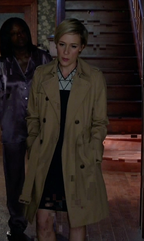 Liza Weil with DKNY Hooded Double Breasted Maxi Trench Coat in How To Get Away With Murder