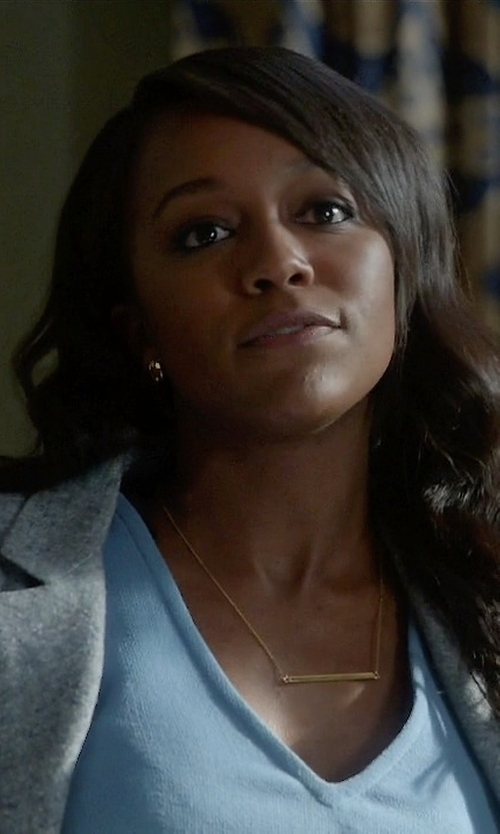 Aja Naomi King with Jennifer Zeuner Bar-Pendant Necklace in How To Get Away With Murder