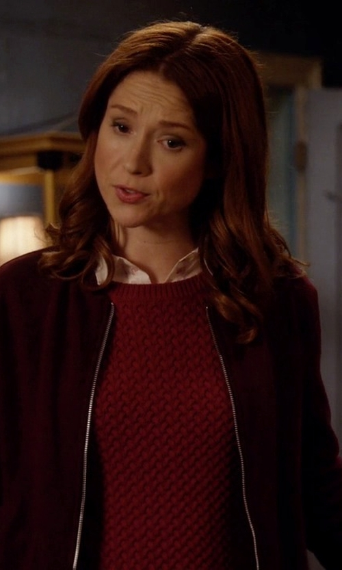 Ellie Kemper with Luouse Women's Vintage Bomber Jacket in Unbreakable Kimmy Schmidt