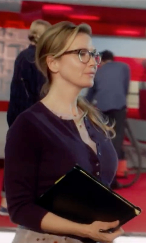 Renée Zellweger with Neiman Marcus Cashmere Collection Cashmere V-Neck Cardigan in Bridget Jones's Baby