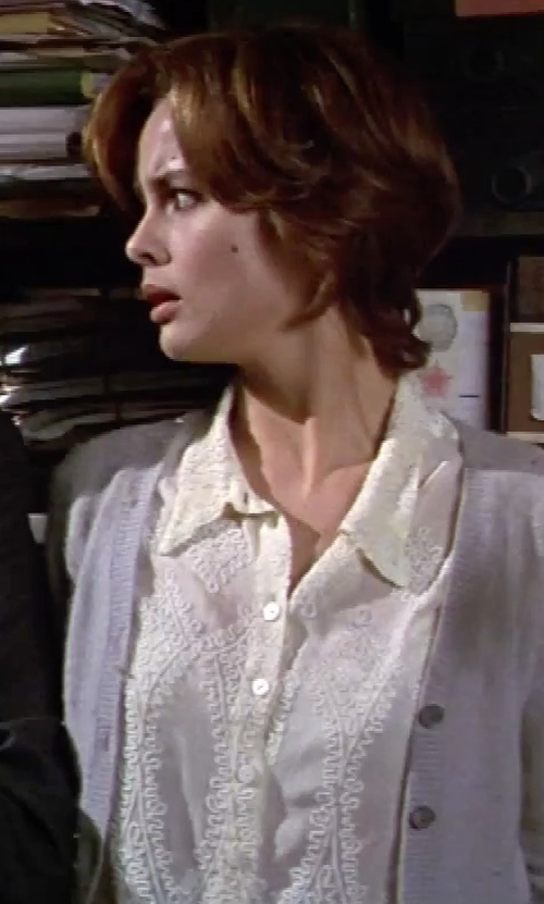 Izabella Scorupco with Elie Tahari Linen Blouse in GoldenEye