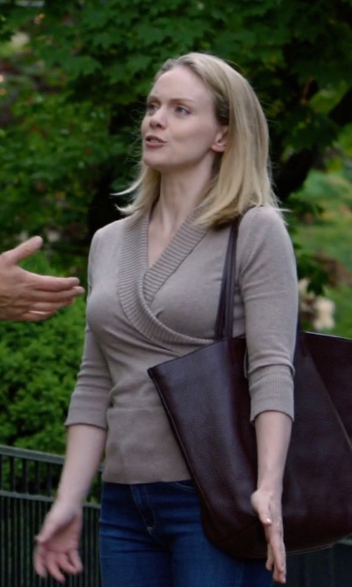 Christina Cole with Neiman Marcus Faux-Wrap Cashmere Sweater in Suits