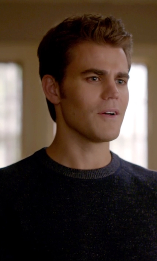 Paul Wesley with French Connection Peached Garment Dye Sweater in The Vampire Diaries