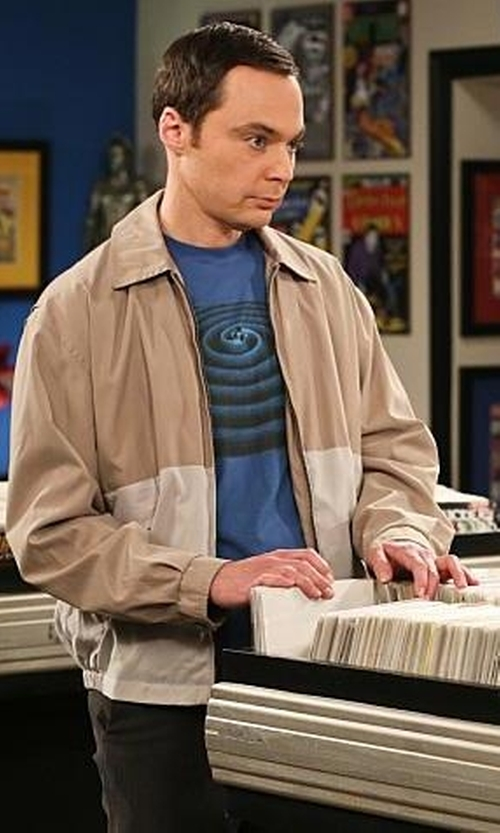 Jim Parsons with Design By Humans Soundwaves Graphic T Shirt in The Big Bang Theory