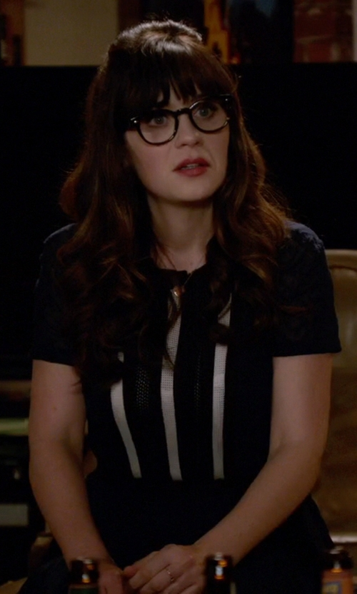 Zooey Deschanel with Maggy London Pucker Stripe Fit And Flare Dress in New Girl