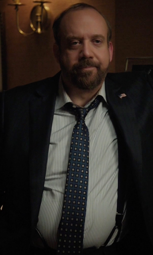 Paul Giamatti with Brooks Brothers Madison Fit Saxxon Wool Track Stripe 1818 Suit in Billions
