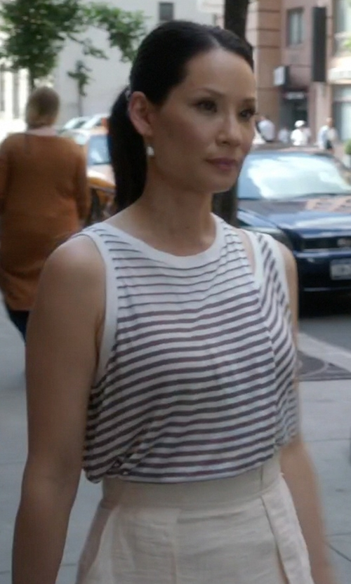 Lucy Liu with Carven A-Line Skirt in Elementary