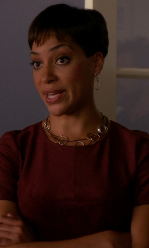 Cush Jumbo with Theory Leather Trim Blouse in The Good Wife