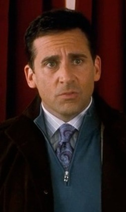 Steve Carell with TheTieBar Silk Woven Eggplant Paisley Tie in Crazy, Stupid, Love.