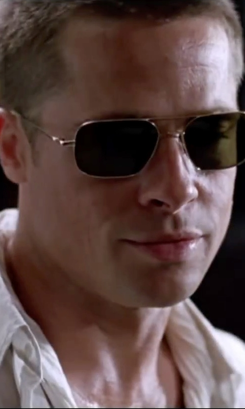 Brad Pitt with Oliver Peoples Victory Sunglasses in Mr. & Mrs. Smith