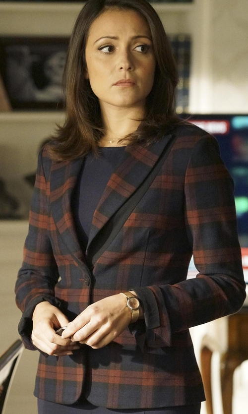 Italia Ricci with 10 Crosby Derek Lam Plaid Two-Button Blazer in Designated Survivor