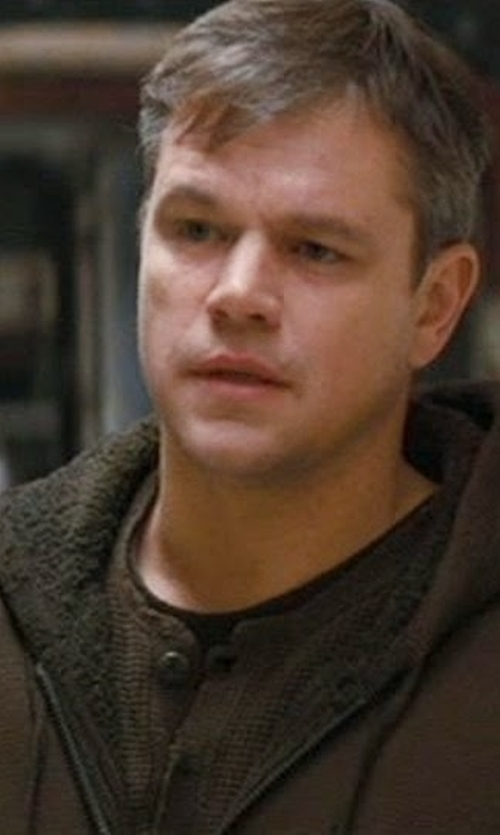 Matt Damon with Vince Brown Sherpa Lined Hoodie in Khaki in Interstellar
