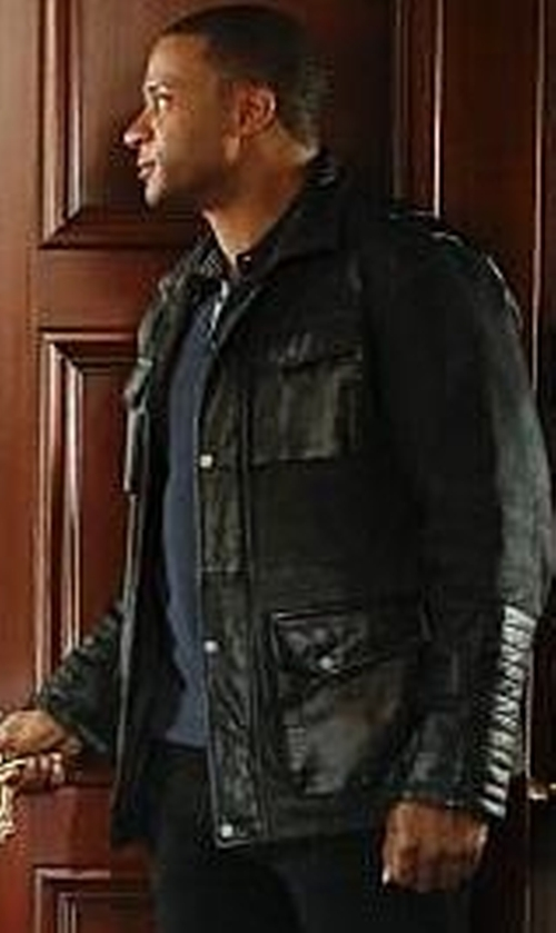 David Ramsey with Danier Beckham Denim and Leather Field Jacket in Arrow