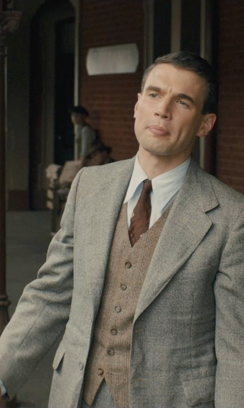 Alex Russell with Band of Outsiders Herringbone Waistcoat in Unbroken