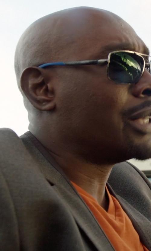 Morris Chestnut with Salvatore Ferragamo Navigator Titanium Sunglasses in Rosewood