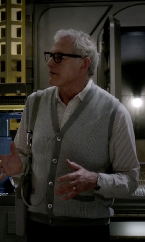 Victor Garber with Brooks Brothers Cotton Cashmere Glen Plaid Vest in The Flash